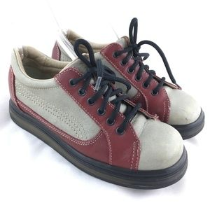 Vintage oxford lace up shoe gray red leather chunk